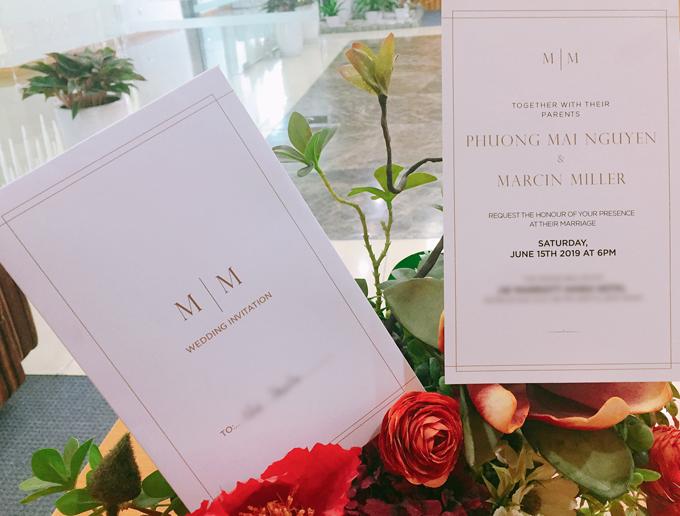 Phương Mai tiết lộ thiệp cưới tối giản với chồng Tây