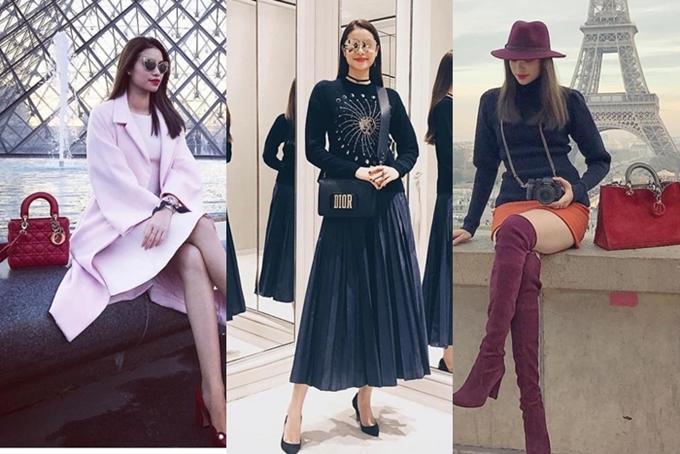 Bộ sưu tập túi Dior của Phạm Hương đa dạng từ kiểu dáng đến màu sắc, khiến cô được xem là một trong nữ hoàng hàng hiệu của showbiz Việt.