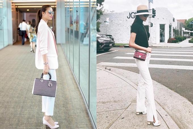 Vẻ sang trọng, đẳng cấp của Phạm Hương được khẳng định thêm từ loạt túi hiệu đắt tiền.