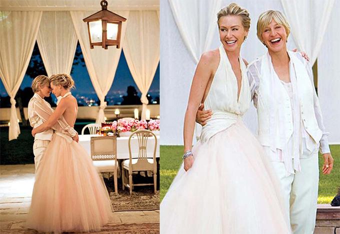 MC lừng danh nước Mỹ Ellen DeGeneres là một trong những nghệ sĩ đầu tiên can đảm công khai giới tính của mình vào năm 1997 trên tạp chí Time. Vào thời điểm định kiến đối với người đồng tính còn rất lớn, Ellen đã chịu vô số lời chỉ trích của dư luận và khán giả quay lưng với chương trình truyền hình của cô. Ellen lao đao suốt vài năm trước khi gây lại tiếng vang với chương trình The Ellen Show.Năm 2000, nữ diễn viên Australia Portia de Rossi gặp Ellen DeGeneres tại một bữa tiệc và cô yêu ngay từ cái nhìn đầu tiên. Tuy nhiên vì sự kỳ thị của xã hội, Portia đã không dám thổ lộ cảm xúc với Ellen suốt 4 năm sau đó. Biết rằng không thể chạy trốn tình yêu mãi, Portia quyết định tỏ tình. Hai nữ nghệ sĩ hạnh phúc sánh đôi lần đầu tiên đến thảm đỏ lễ trao giải vào tháng 12/2004.Cảm xúc của tôi dành cho cô ấy đã vượt qua tất cả nỗi sợ là một người đồng tính nữ. Tôi phải ở bên cô ấy và tự nhủ những thứ khác mình sẽ giải quyết sau, Portia de Rossi tâm sự.Ngày 16/8/2008, MC Mỹ và nữ diễn viên xinh đẹp đã tổ chức lễ cưới lãng mạn tại biệt thự của cặp đôi ở Beverly Hills, California. Cuộc hôn nhân của họ vẫn mặn nồng trong suốt hơn 10 năm qua.