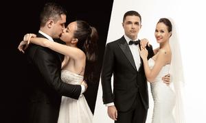 Phương Mai 'khóa môi' chồng Tây trong ảnh cưới