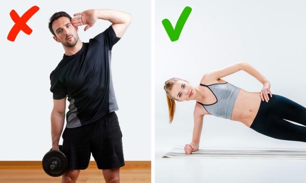 Nghiêng người với tạ Bài tập này tác động vào vùng cơ lườn và cơ hông, giúp làm tăng cơ bắp. Nếu tập