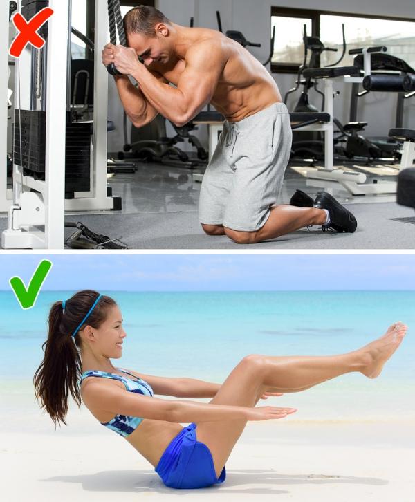 Gập bụng với dây cáp Tương tự động tác trên, bài tập này phù hợp với nam giới muốn xây dựng cơ bụng 6 múi. Với nữ giới có nhu cầu giảm mỡ thừa, bạn có thể tập động tác gập bụng tư thế chữ V, giữ trong thời gian lâu nhất có thể.