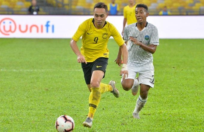 Cầu thủ Timor Lester tỏ ra thua kémtrong trận gặpMalaysia.