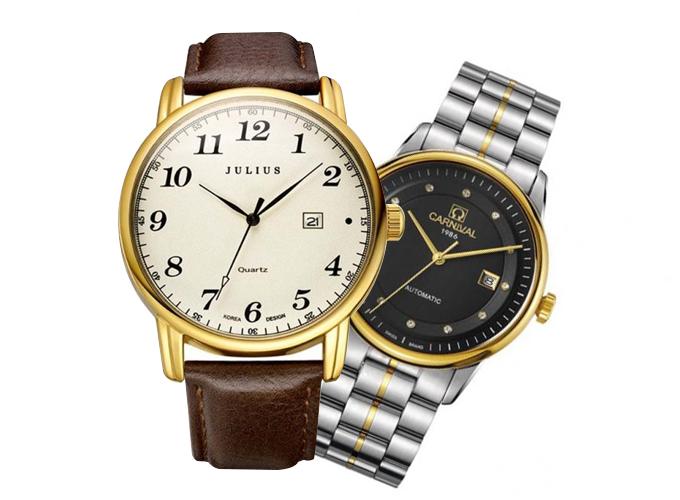 Đồng hồ không chỉ là công cụ đo thời gian mà còn mang trong mình một thông điệp về giá trị của thời gian. Đồng hồ còn góp phần khẳng định phong thái, đẳng cấp của người đeo, do đó, nếu cha bạn yêu thích đồng hồ hoặc chưa có chiếc đồng hồ nào, hãy dành tặng cho cha món quà ý nghĩa này. Đồng hồ Timex của Mỹ, Carnival của Thụy Sỹ hoặc từ thương hiệu Julius Hàn Quốc là những cái tên được nhiều người tìm kiếm khi lựa chọn đồng hồ trên Shop VnExpress.