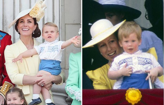 Kate bế Hoàng tử Louis đứng trên ban công Điện Buckingham hôm 8/6/2019 (trái) và Công chúa Anne bế Hoàng tử Harry cũng trên ban công Điện Buckingham năm 1986. Ảnh: UK Press.