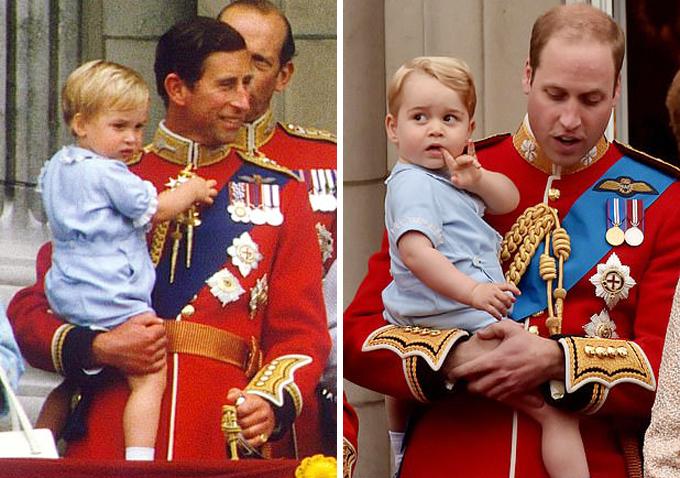Thái tử Charles bế Hoàng tử William năm 1984 (trái) và Hoàng tử William bế Hoàng tử Louis năm 2019, cùng trên ban công Điện Buckingham nhân sinh nhật Nữ hoàng (phải). Ảnh: UK Press.