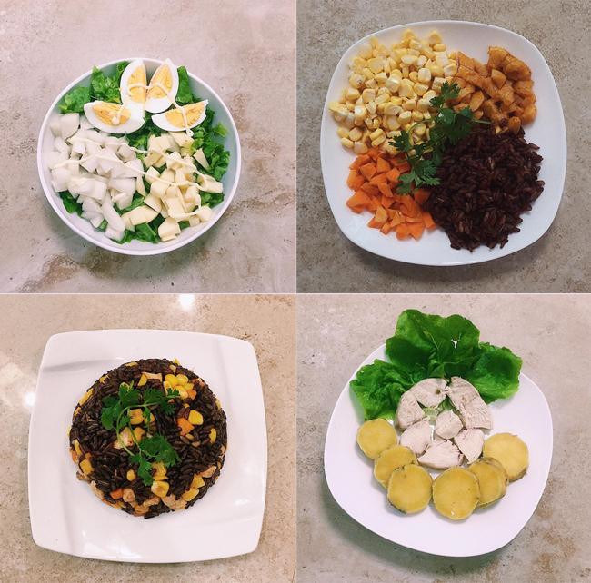 Các bữa ăn của Linh Chi đều có đầy đủ rau xanh, protein từ ức gà hoặc trứng hay thịt bò cùng tinh bột từ khoai lang hoặc gạo lứt.