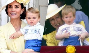 Hoàng tử Louis mặc đồ giống chú Harry hơn 30 năm trước