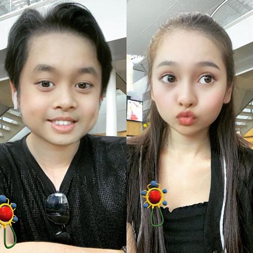 Vợ chồng nhạc sĩ Dương Khắc Linh hài hước khoe ảnh trẻ hóa nhờ một ứng dụng chỉnh ảnh và hỏiđứa con nên giống ba hay là mẹ?.