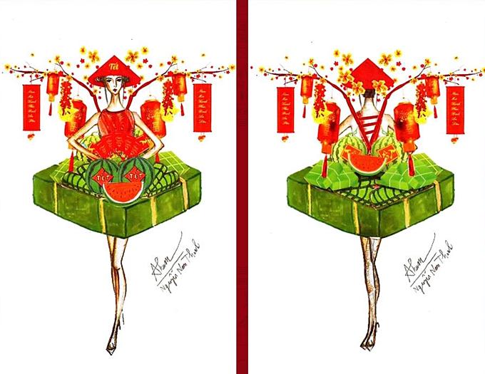 Nguyễn Nam Thanh muốn đem cả không khí của Tết Việt lên sân khấu Miss Universe qua trang phục cùng tên.
