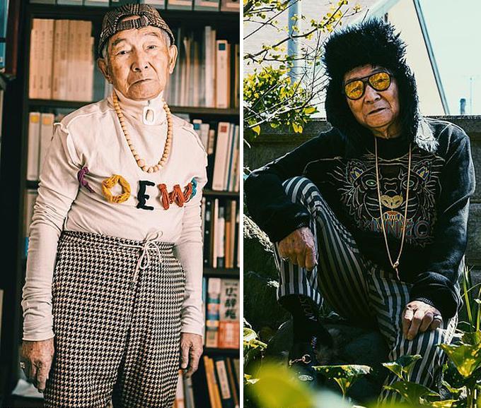 Cụ ông Tetsuya không chỉmặc đồ của cháu mà còn rất chịu khó tạo dáng. Ảnh: Instagram.