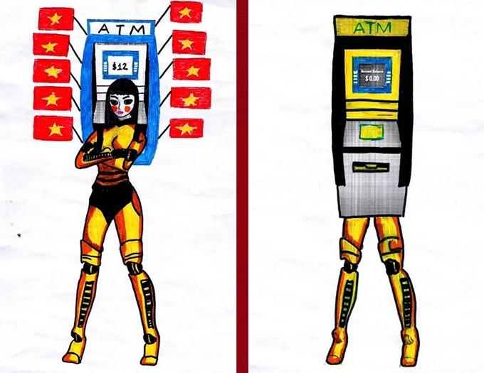 Hồ Hữu Thái táo bạo hơn trong ý tưởng thiết kế với hình ảnh cây ATM.