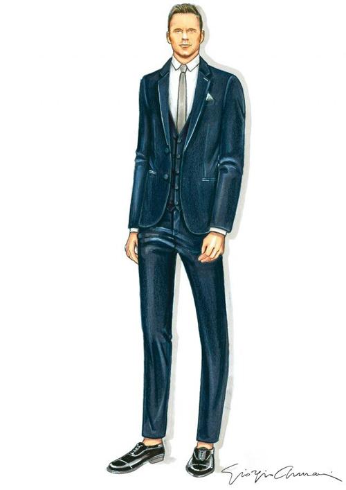 Còn chú rể cũng mặc bộ suit của Armani được làm từ chất liệu len cao cấp với sắc xanh đậm.