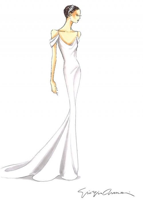 Phác thảo đầm cưới tối giản dành choKatherine. Chia sẻ với báo giới,NTK84 tuổi Giorgio Armani cho hay: Tôi rất tự hào vì đã đóng góp một phần cho đám cưới của uyên ương. Tôi thiết kế những trang phục thanh lịch, tinh tế để làm nổi bật cá tính của họ.