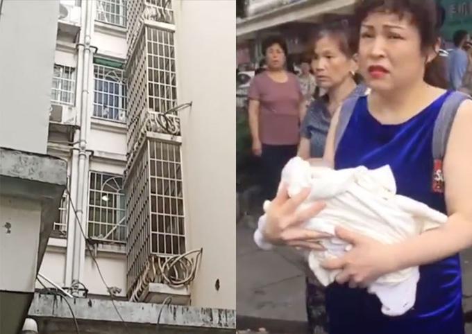 Bé sơ sinh được hàng xóm cứu sau khi bị mẹ ném qua cửa sổ. Ảnh: Pear Video.