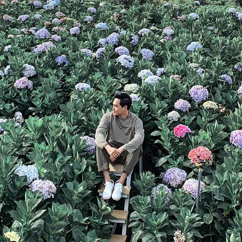 Hoàng tử sơn ca Quang Vinh check in tại vườn hoa cẩm tú cầu mới Đà Lạt. Thích chỗ này quá à, post thêm cho đủ tiền mua vé 15.000vnd vô chụp với bông bông nè, nam ca sĩ tiết lộ.