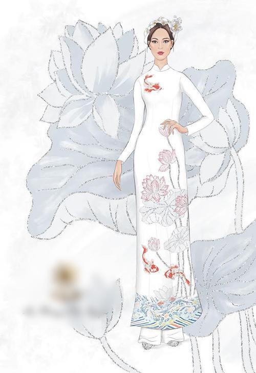 Ngoài áo dài đỏ, Phương Mai sẽ diện thêm áo dài trắng làm từ lụa Hàng Châu cho lễ vu quy sáng 15/6. Dũng Nguyễn chia sẻ: Cô dâu là người Hà Nội nên tôi muốn gửi gắm sự truyền thống, nét đẹp phụ nữ Hà thành bằng cách đưa hình ảnh hoa sen vào tà áo. Những chú cá chép với hình ảnh sóng nước thể hiện tính cách mạnh mẽ được cân bằng bởi hình ảnh đóa sen thanh khiết, dịu dàng.