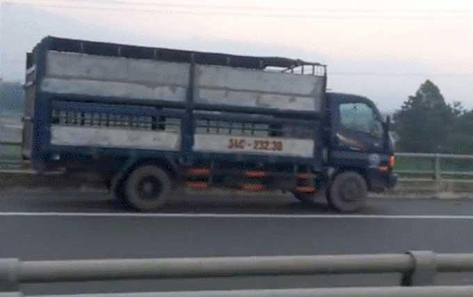 Xe tải chạy ngược chiều trên cao tốc Nội Bài-Lào Cai hôm 14/6. Ảnh cắt từ clip