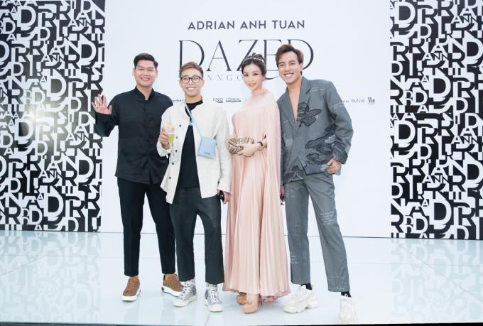 Theo sát Lam Cúc trong mọi sự kiện lớn nhỏ luôn có sự đồng hành của những người cộng sự và cũng là bạn thân làPhú Bánh Bao, Stylist Hoàng Ku (đứng giữa)và Stylist Mạch Huy(bìa phải).