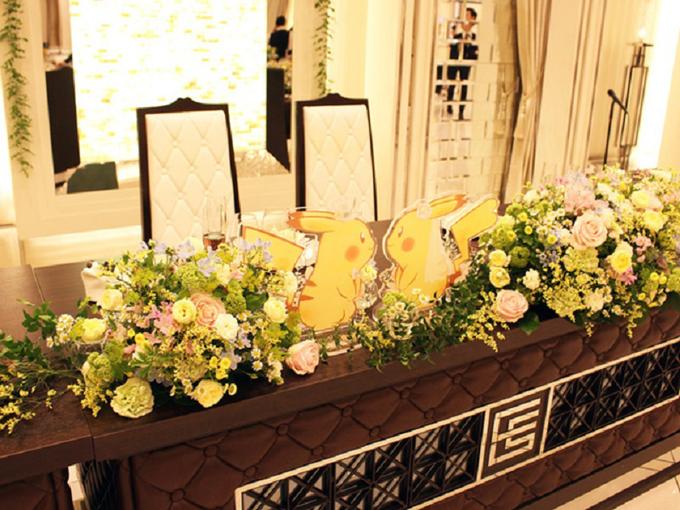 Bàn cô dâu chú rể cũng có sự góp mặt của Pikachu