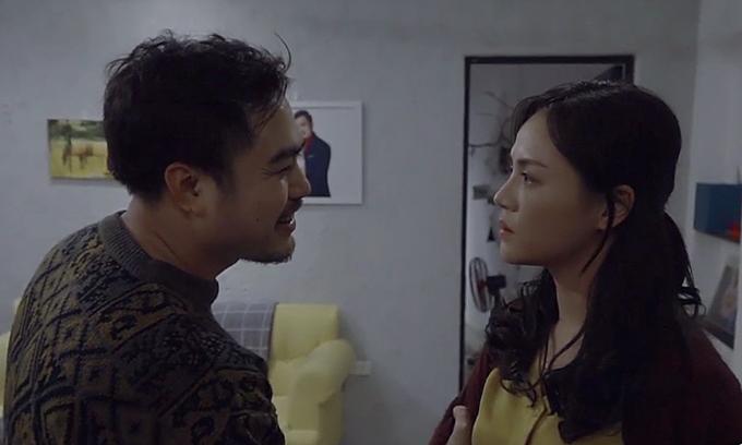 Trọng Hùng và Thu Quỳnh trong phân đoạn Khải cưỡng bức vợ ở tập 34 Về nhà đi con