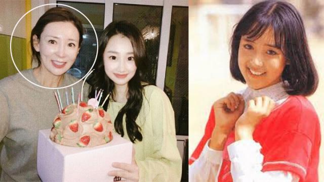Lee Sang Ah (ngoài cùng bên phải) và con gái. Ảnh phải: Lee Sang Ah thời trẻ.