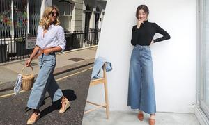 Phối đồ cùng mốt quần jeans ống rộng