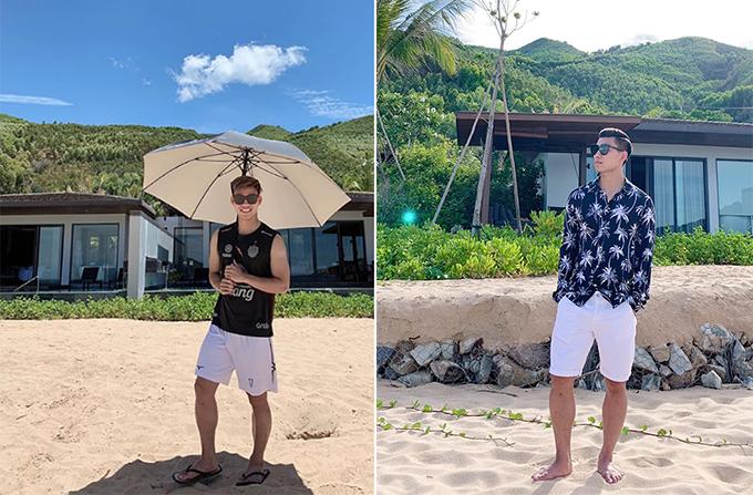 Văn Thanh khoe ảnh chụp trong kỳ nghỉ ở Quy Nhơn. Ảnh: Instagram & FB.