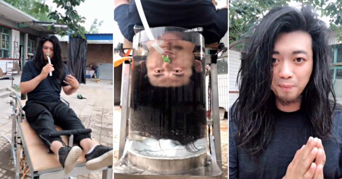 Handyman Di trước, trong và sau khi gội đầu bằng chiếc máy do anh này phát minh. Ảnh: Weibo.
