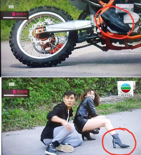 Vẫn là Hồ Định Hân, đôi giầy cô sử dụng từ giầy thể thaobiến thành bốt cao gót chỉ từ cảnh trước sang cảnh sau.