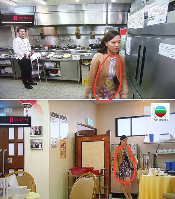 Di chuyển từ gian bếp ra bên ngoài nhà hàng của phim Nam thần xuyên thời gian, váy của Hoa hậu Chu Thần Lệ bất ngờ đổi khác.