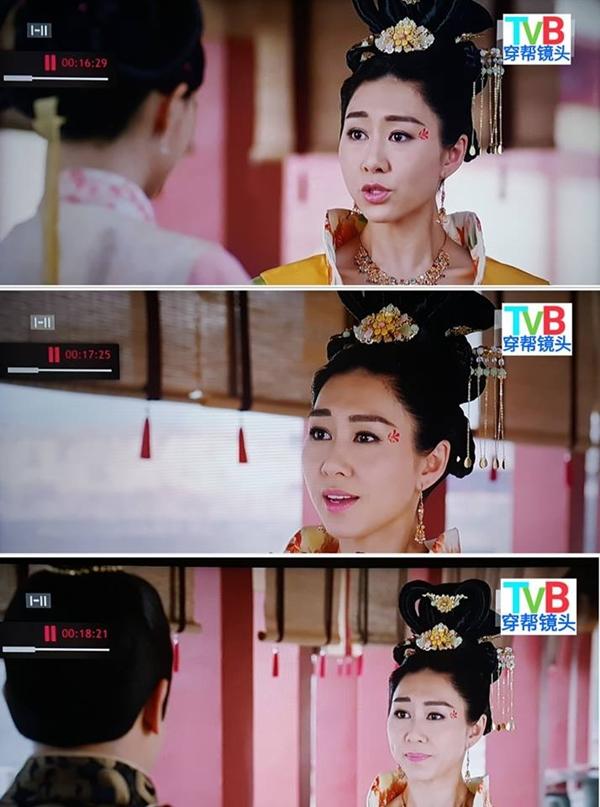 Hoàng hậu Hồ Định Hân trong phim Thâm cung kế bị chuyên gia trang điểm hại, kẻ lông mày bên cao bên thấp.