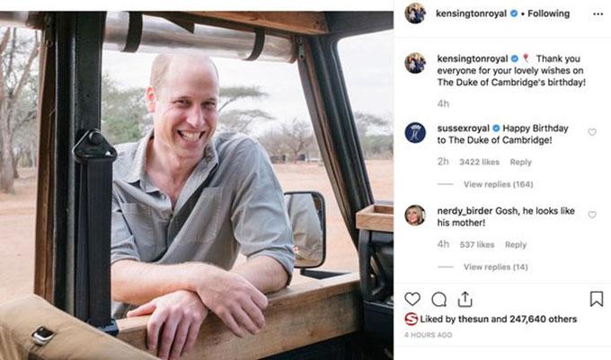 Bài đăng của tài khoản Điện Kensington chúc mừng sinh nhật Hoàng tử William hôm 21/6. Ảnh: Instagram.