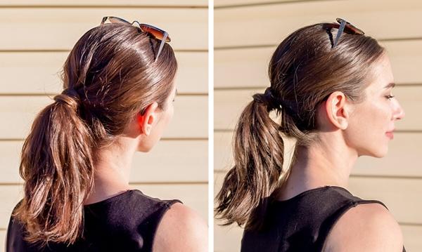 Ngày thứ ba Phần chân tóc có dấu hiệu bết dầu nhiều hơn. Vì mái tóc vẫn còn những lọn xoăn từ hôm trước nên Polina quyết định tạo kiểu tóc buộc đuôi ngựa thấp và dùng thêm kính râm để che đi phần tóc bết phía trên.