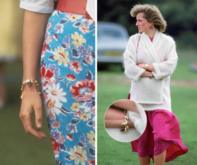 Diana có chiếc vòng tay thể hiện tình yêu dành cho hai conDo món trang sức này mang ý nghĩa rất đặc biệt đối với Diana, bà hiếm khi đeo nó vì sợ làm mất. Chiếc vòng vốn là quà tặng từ Thái tử Charles, ông sẽ gắn thêm lên đó một chiếc charm vào mỗi dịp kỷ niệm của hai người. Loạt charm bao gồm mô hình thu nhỏ của nhà thờ St Paul - nơi họ kết hôn; đôi giày múa ballet bởi Diana yêu môn này; và quan trọng nhất là hai chữ W và H - được Thái tử Charles thêm vào chiếc vòng khi các con chào đời.