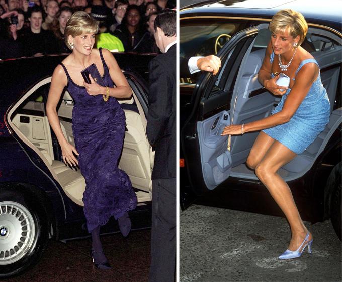 Diana dùng túi cầm tay (clutch) để che ngựcCông nương xứ Wales có một tuyệt chiêu: Mỗi lần mặc đầm tiệc và bước xuống xe, bà luôn giữ chiếc clutch phía trước nhằm tránh bị paparazzi chụp khe ngực. Nhà tạo mốt Anya Hindmarch từng chia sẻ: Chúng tôi cười to khi thiết kế thứ mà cô ấy gọi là túi khe ngực - mẫu clutch bằng satin cô ấy dùng để che chắn khi ra khỏi xe hơi.