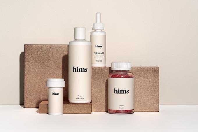 Các sản phẩm chăm sóc sắc đẹp và sức khỏe dành cho nam giới của Hims. Ảnh: Vox.