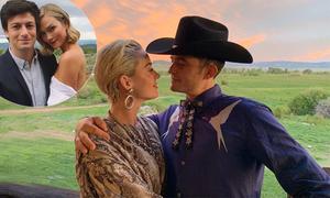 Katy Perry và Orlando Bloom mặc đồ cao bồi đi đám cưới bạn thân