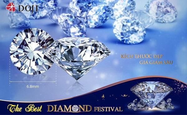Danh sách kim cương kích thước đẹp được DOJI cập nhật liên tục, mức giảm giá hấp dẫn là cơ hội lý tưởng cho khách hàng trải nghiệm, lựa chọn loại đá quý này.