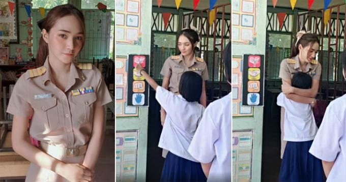 Cô giáo Nattaya Nat và các học sinh của mình chào hỏi mỗi sáng đến lớp ở trường tiểu học Banpruewa, tỉnh Chachoengsao. Ảnh: FB.