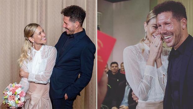 HLV Atletico, Diego Simeone, lặng lẽ tổ chức đám cưới bí mật, ấm cúng với người đẹp Carla Pereyra hôm 14/6. Cả hai gắn bó 5 năm qua và có hai cô con gái. Với người vợ đầu, cựu danh thủ Argentina có ba con trai đều đã trưởng thành.
