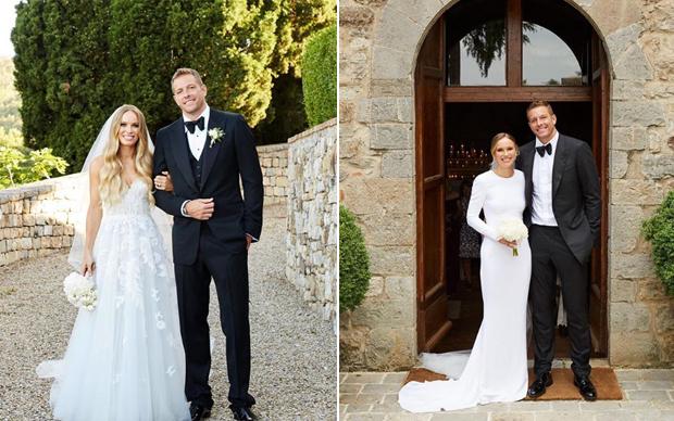 Trong tháng 6, làng quần vợt cũng đón rể mới là cựu sao bóng rổ David Lee- hôn phu của người đẹp Caroline Wozniacki. Tay vợt nữ người Đan Mạch tổ chức hôn lễ tại Italy hôm 16/6 (trái) và cuối tuần qua tổ chức một lễ nhỏ trong nhà thờ tại Mỹ.