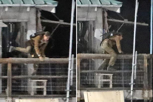 Vào buổi tối, cô thực hiện cảnh quay cứu nhân chứng. Nữ diễn viên nhảy qua hàng rào ban công với sợi dây bảo hộ buộc trên lưng.