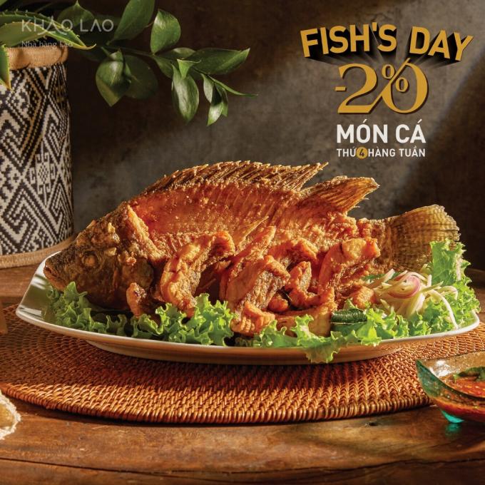 Món cá tại Khao Lao được giảm giá 20% vào thứ Tư hàng tuần.