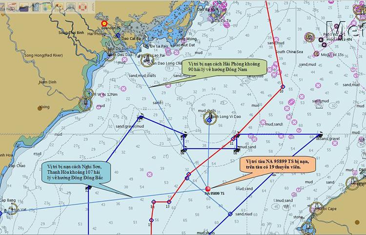 Sơ đồ vị trí tàu Nghệ An bị chìm.