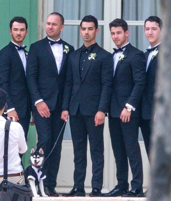Joe Jonas (đứng giữa) lịch lãm bên dàn phù rể, trong đó có anh trai Kevin Jonas (ngoài cùng bên trái), hai em trai Nick Jonas và Frankie Jonas (bên phải)