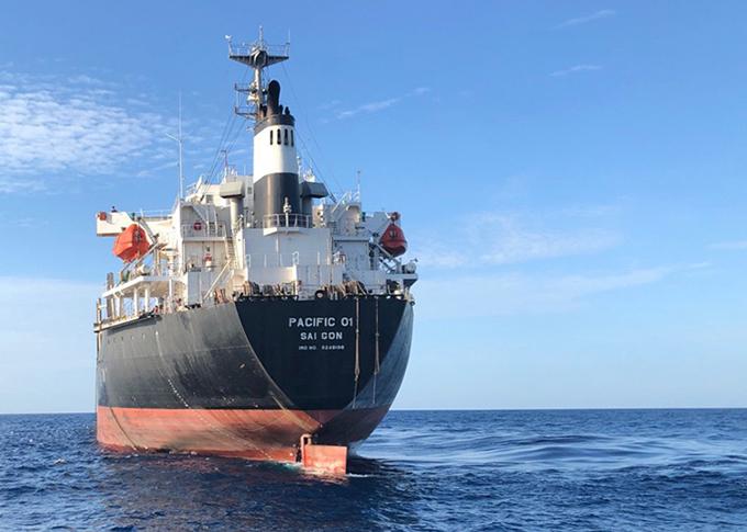 Tàu hàng pacific 01 tại hiện trường.Ảnh: Trung tâm phối hợp tìm kiếm cứu nạn.