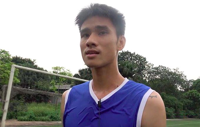 Đinh Tiến Thành trong buổi tập đầu tiên cùng CLB Hà Nội.
