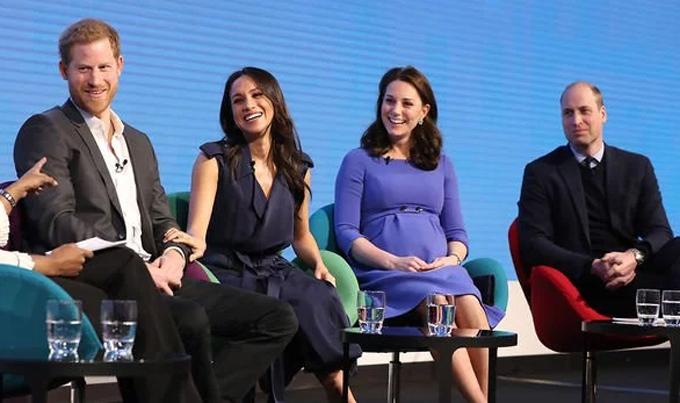 Bộ tứ Harry, Meghan, Kate và William trong một chương trình về Quỹ Hoàng gia hồi tháng 3/2018. Ảnh: UK Press.